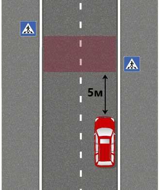 расстояние 5 метров от знака пешеходный переход