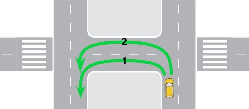 Разворот на перекрестке с разделительной полосой