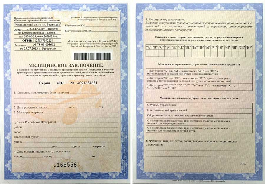 Фото медицинского заключения для водительских прав, форма 003-ВУ